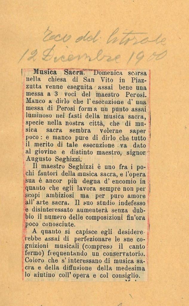 L'articolo si riferisce a domenica 9 dicembre 1900