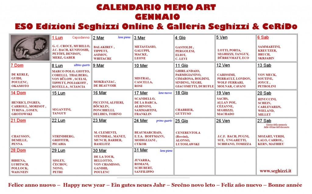 2018 01 01 Calendario delle arti