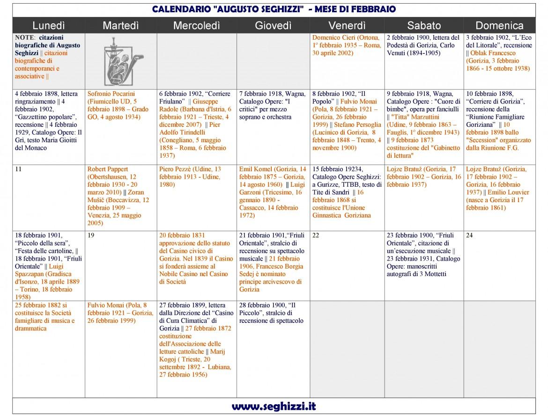 calendario Seghizzi febbraio-2019