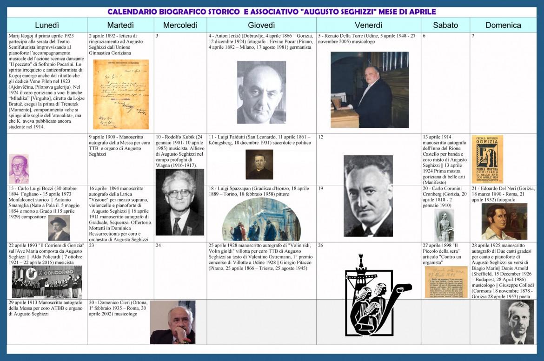 Calendario biografico associativo Seghizzi - aprile